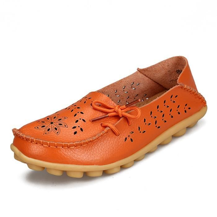 Mocassin Femmes ete Loafer Ultra Leger Respirant Chaussures XFP-XZ051Orange44