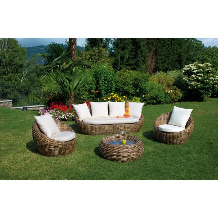salon jardin avec canap de 3 places 2 fauteuils 1 table rond achat vente salon de. Black Bedroom Furniture Sets. Home Design Ideas