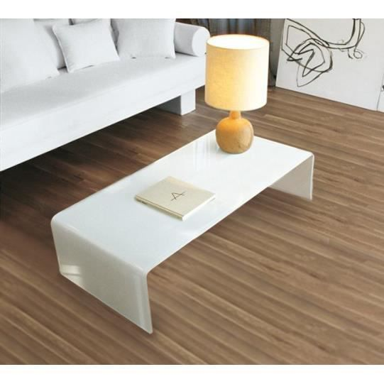Table basse bridge 100 x 60 verre tremp blanc achat - Table salon verre trempe ...