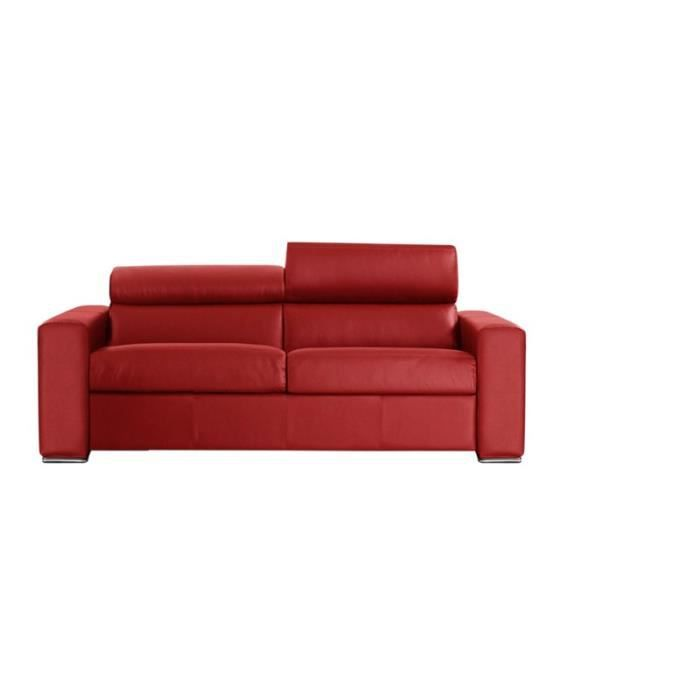 canap convertible omega vrai cuir rouge 140x190 achat vente canap sofa divan cuir. Black Bedroom Furniture Sets. Home Design Ideas