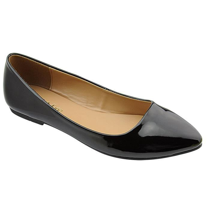 Bella Marie Womens Pointy Toe Slip On Classic Ballet Flat Flats-shoes RQK9O Taille-38 1-2