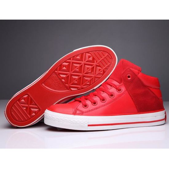 Rouge homme Converse All Star hi cuir Basket Classic ...