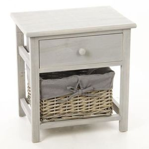 CHEVET Table de chevet avec panier de rangement - Bois