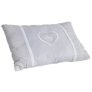 COUSSIN Coussin coeur gris rectangulaire