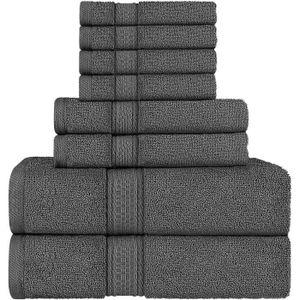 Gris Serviettes de Toilette Extra-Douces 100/% Coton Set de 2 draps de Bain iDesign Ensemble Serviettes de Bain avec accroches 2 Serviettes et 2 essuie-Mains Lot de 6