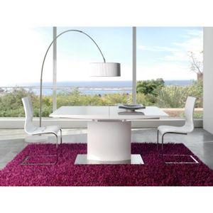 TABLE À MANGER SEULE Table AQUILA extensible en bois blanc laqué longeu