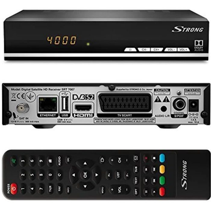 Strong SRT 7007 Décodeur Satellite HD Free to Air avec affichage (Récepteur TV Sat, HDMI, SCART, USB) noir