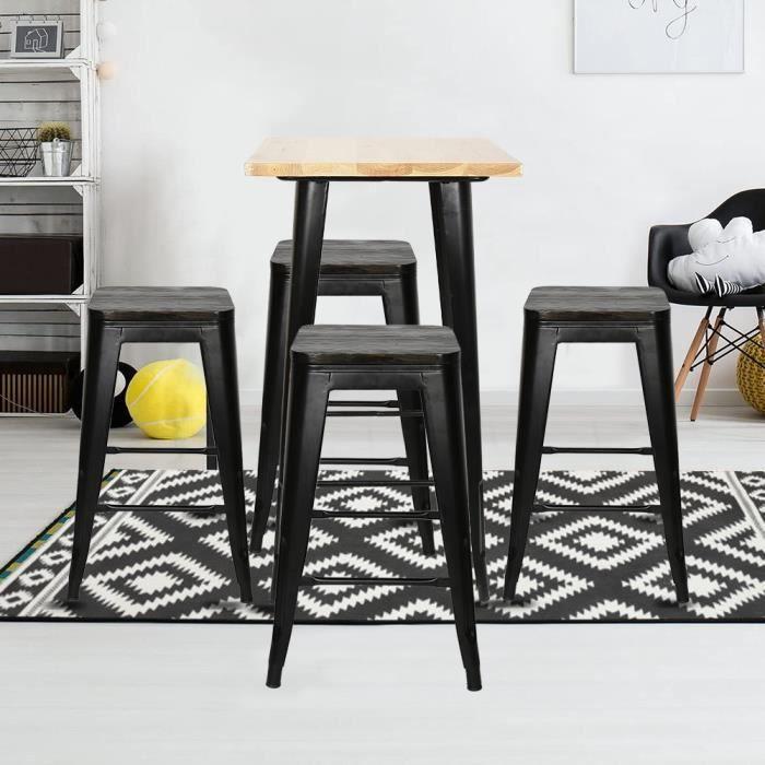 4x tabouret de bar industriel avec siège en bois, POPSMIT chaise de comptoir, métal, design industriel, empilable