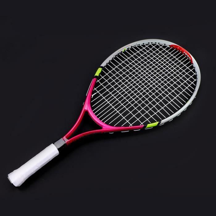 Raquette de tennis simple à cordes durables pour l'entraînement des enfants (rose rouge)-TIP