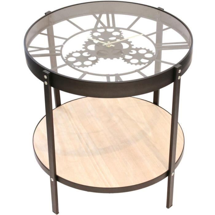 Home Deco Factory HD6447 Table basse d'appoint ronde Horloge Noir beige et transparent Métal bois et verre Grand modèle D50,5xH51cm