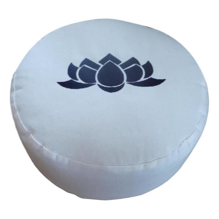 Tapis de sol modèle rond (ZAFU) avec lotus - blanc