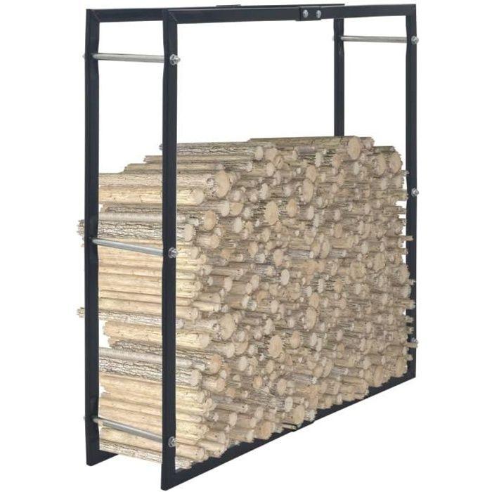 Elégant - Portant de bois de chauffage Haut de gamme - Abri Bûches Range Bûches Portant de stockage Noir 100x25x100 cm Acier @635971
