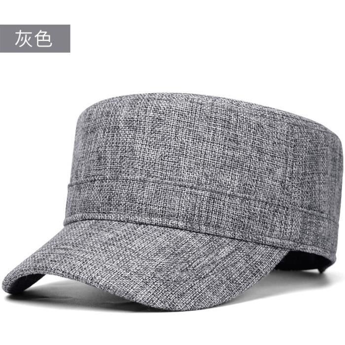 clear Gray 55-60cm -Casquette militaire grande taille pour hommes, chapeau plat, en lin, maille, 55 60cm 60 66cm, été