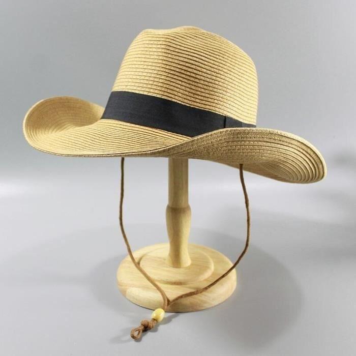 Kaki 58cm -Chapeau de paille pliable pour homme, chapeau de Cowboy, de plage, de Panama, grande tête, Fedora, 58CM, 60CM, 62CM