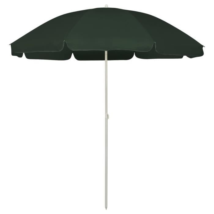 Three 240 cm Parasol de plage Vert 240 cm