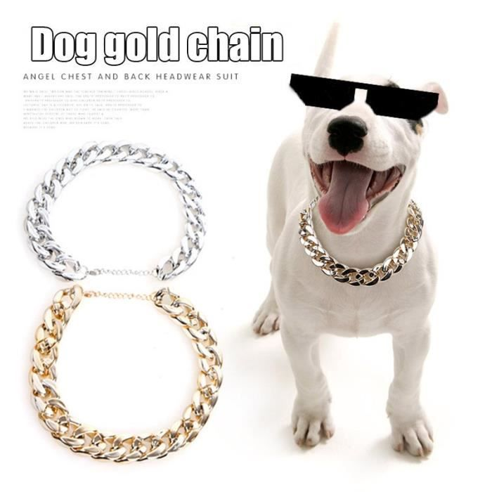 JAC1 Collier de chaîne réglable pour chien de compagnie collier de sécurité pour chat chiot plaqué or Punk pas de collier pour ani