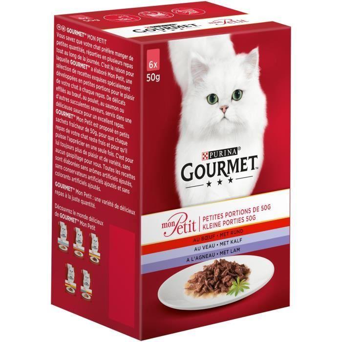 GOURMET Mon Petit au veau, au bœuf, à l'agneau - Sachets fraîcheur - Pour chat adulte - 6 x 50 g