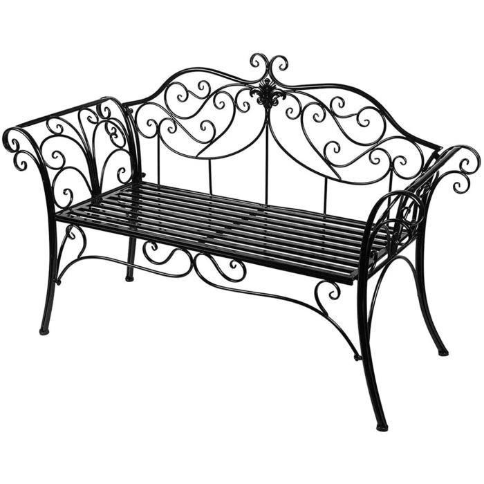 banc de jardin fer forgé 2 places banc jardin extérieur antique banquette jardin arc élégant chaise fer forgé pour terrasse-c