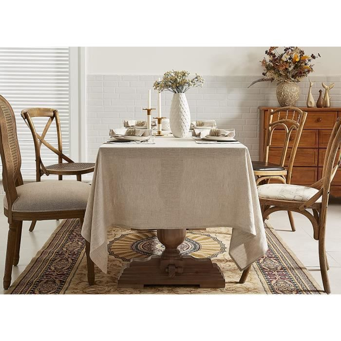 nappe 100 % lin, 140 x 220 cm, lavable, 100 % lin naturel français, facile d'entretien, aspect lin, décoration de table anti-tache