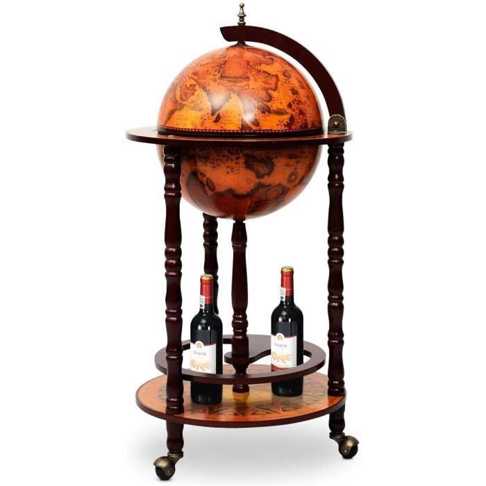 Bar Globe Terrestre Mappemonde,Casier-Support à Vin-Bouteilles en Bois avec 3 roulettes,Design Vintage pour Salon,Chambre,Cuisi