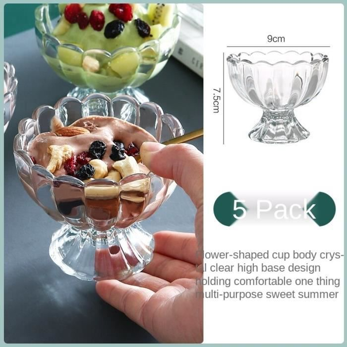 Verres à cocktails,Tasse à glace,ustensiles de boisson,tasse à glace,jus de fruits,lait,thé,Dessert - Type 5 packs