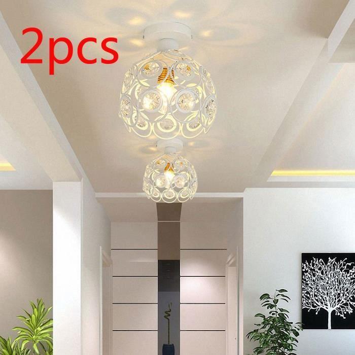 2PCS Métal Plafonnier Industrielle en Cristal Luminaire Intérieur Lustre Moderne Abat-Jour pour Allée Chambre Salon Couloir