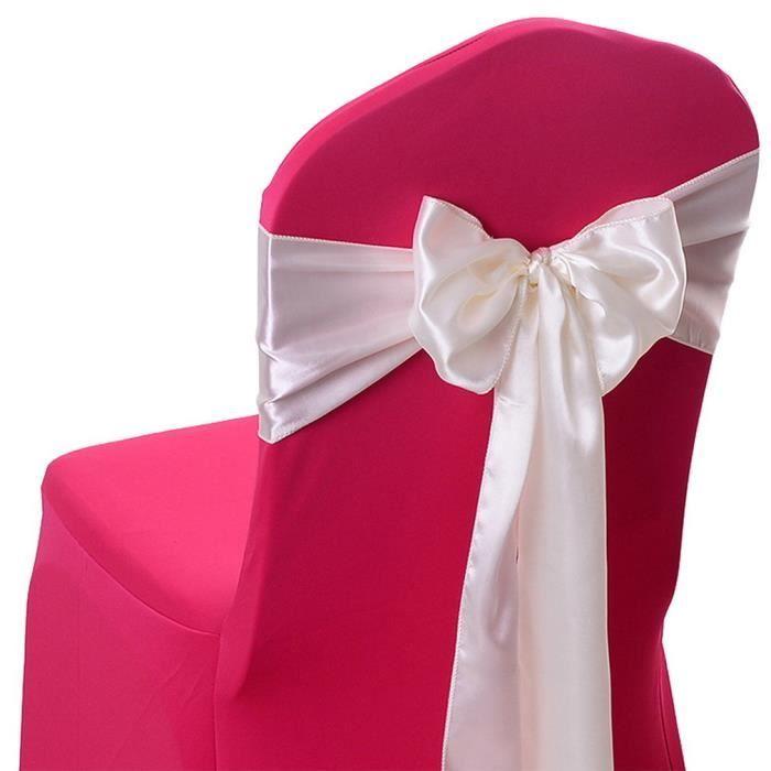 10Pcs Nœuds Ruban de Housse Chaise en Satin Décor Mariage Fête Anniversaire Beige