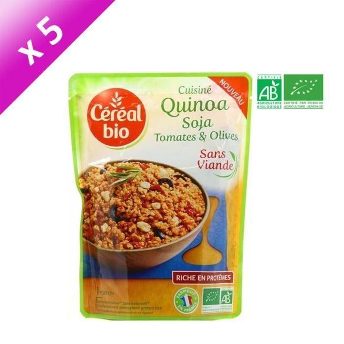 [LOT DE 5] CEREAL BIO Quinoa cuisiné soja, tomates et olives Bio - 220 g