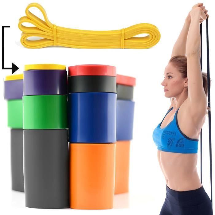 CKB LTD® 1x Fitness 5-15lb Resistance Band 0.64 cm JAUNE Bande De Résistance Bande Elastique Léger Pour Yoga Pilate Musculation