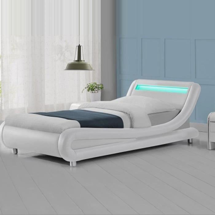 Lit led design Julio - 90x190 - Blanc