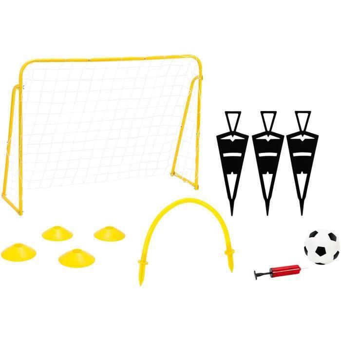 Kit Entrainement de Foot avec But, Ballon et Pompe Noir,Jaune