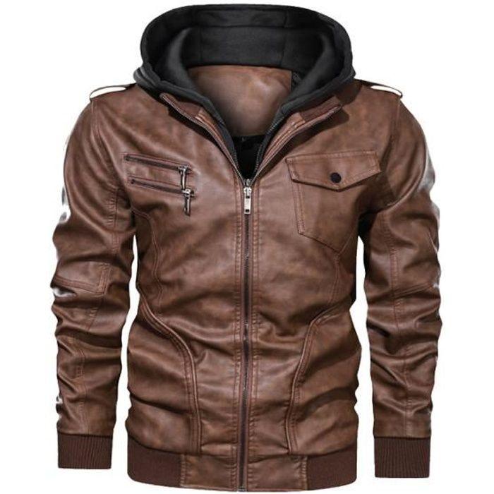 Veste en PU cuir Homme Capuche Amovible Grande taille Mode Peluche doublé Veste Hommes La moto Blouson de luxe Hiver