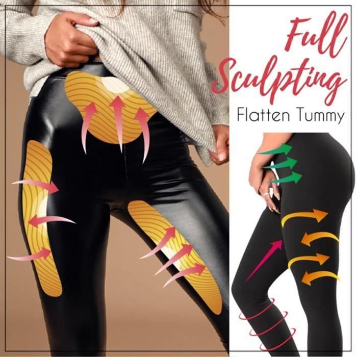 Stretch-Fit Faux cuir Shaper PU-taille haute Leggings pantalon chaud pour les femmes GJJ91101001BKL_Lavi