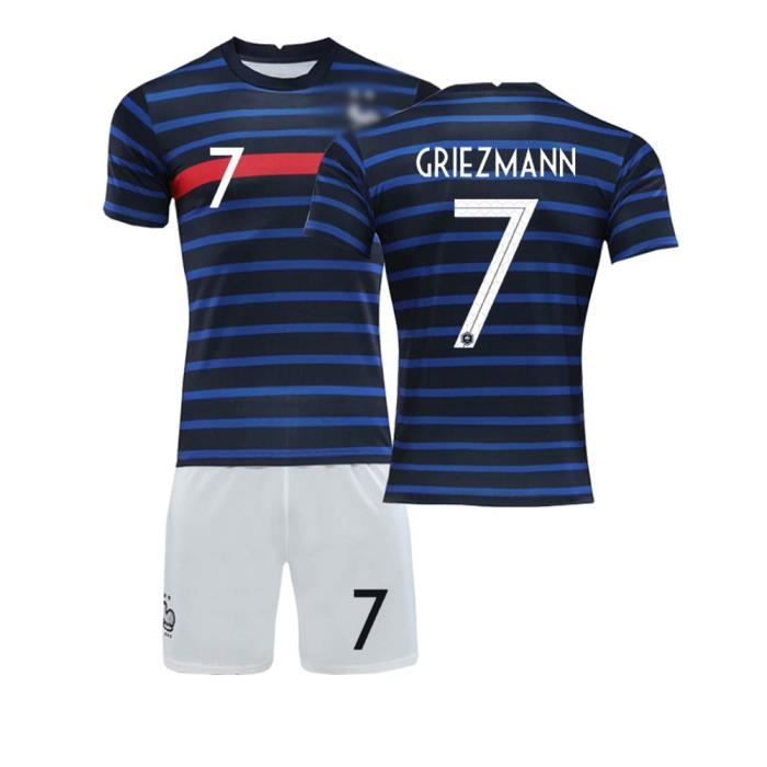 Coupe d'Europe 2020-21 NO.7 GRIEZMANN France FG Balle d'équipe Jersey Maillot et Shorts de football Enfant -Bleu Noir