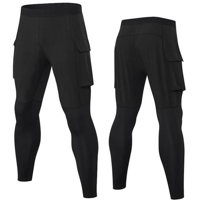 Hommes Pantalon à Neuf Points Sport Legging PRO Fitness Sec Rapide Haute Élasticité Training Survêtement Poches de Travail Noir