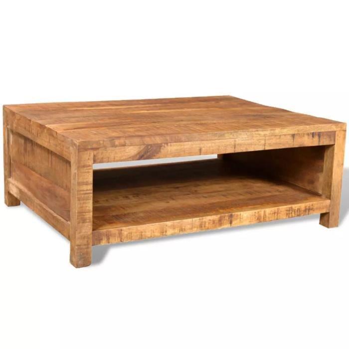 Table basse Bois massif de manguier 80 x 60 x 30 cm (L x l x H) Avec un grand compartiment pour le stockage