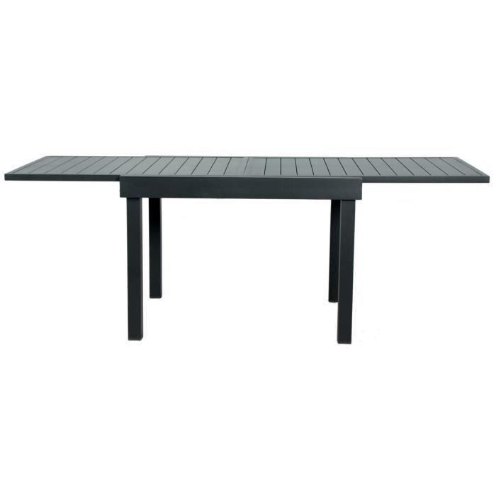 Table de balcon extensible en aluminium coloris anthracite - 106-212 x 75 x 75 cm