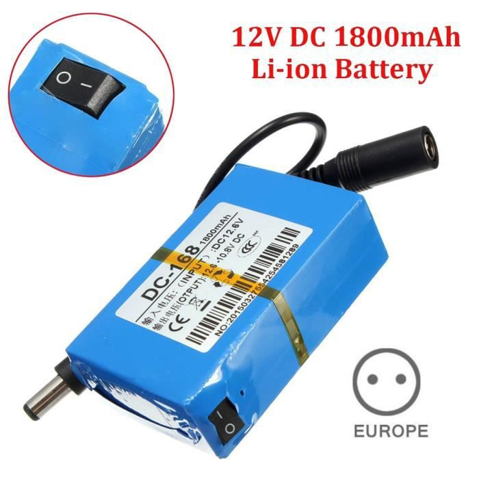 Pack de batterie Li-ion rechargeable portable 1800mAh mini DC-168 12V pour caméra de vidéosurveillance