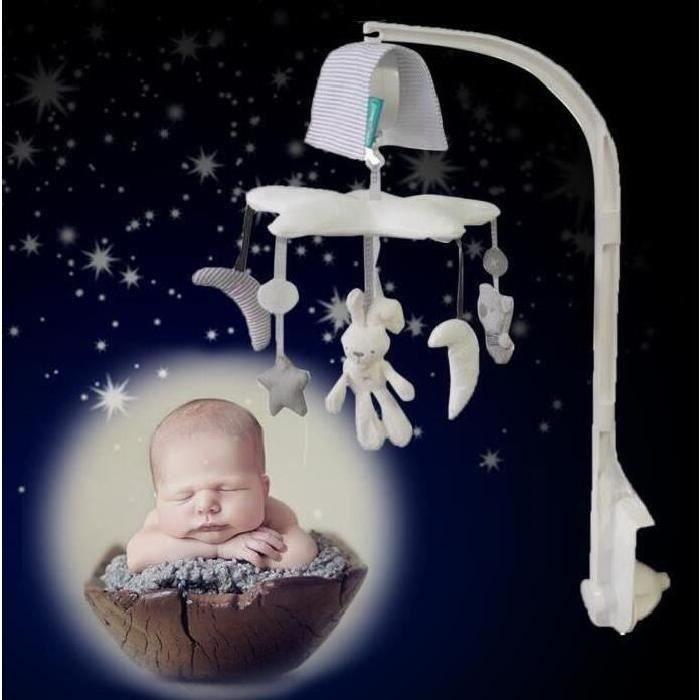 jouet enfant lit Mobile Hanging rotatif crèche cloche avec lapin Moon Star bébé boîte à musique