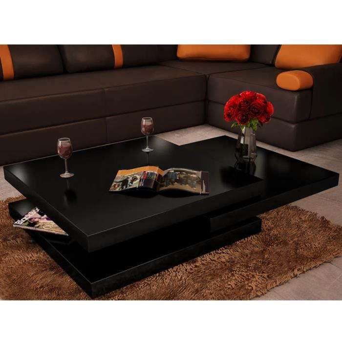 Table basse noir laqué carrée pivotante 3 plateaux Noir