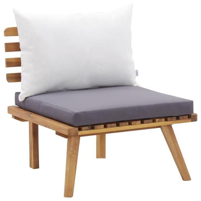 vidaXL Chaise de jardin avec coussins Bois d'acacia massif