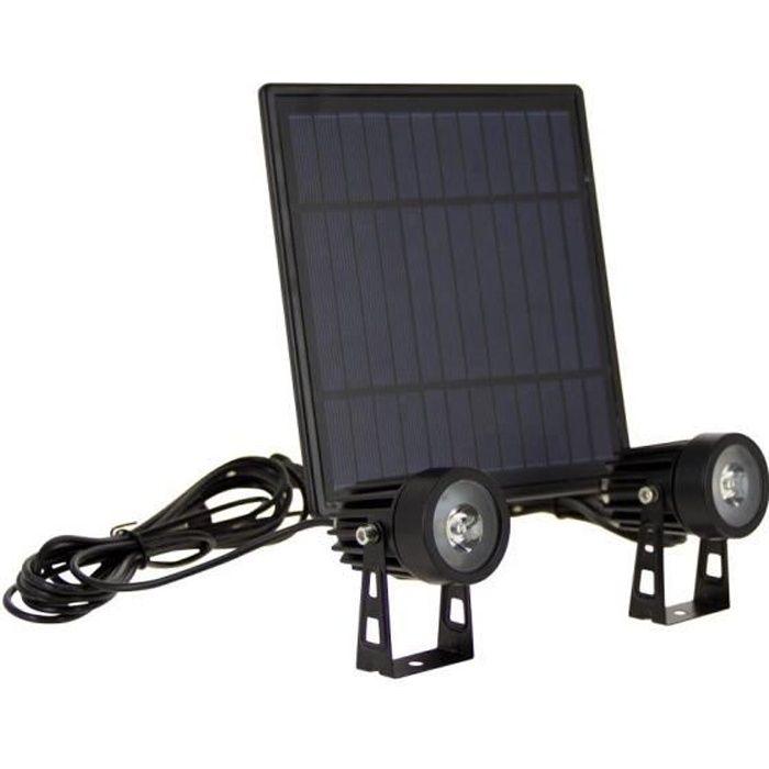 Double projecteur LED solaire, autonomie 8h, avec panneau déporté, spécial extérieur (IP44)