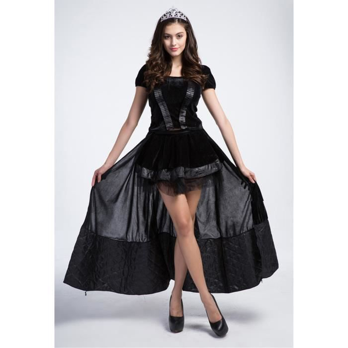 d guisement femme halloween sorci re robe noir costume femme soir e achat vente. Black Bedroom Furniture Sets. Home Design Ideas