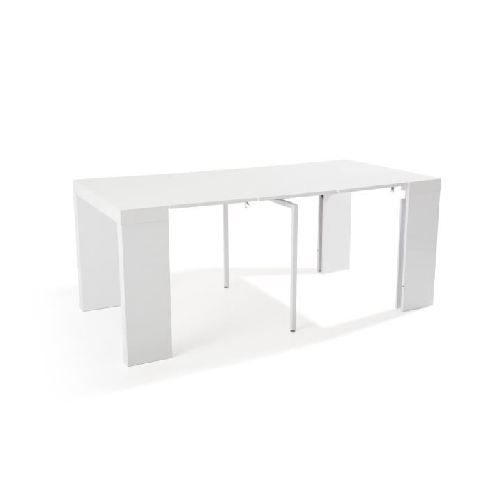 Table console extensible othello 3 allonges laqu blanc 1m80 achat vent - Cdiscount console extensible ...