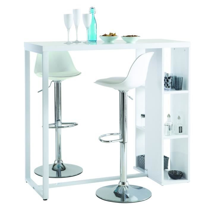 Breakfast table bar 120x50 cm laqu blanc brillant achat vente mange de - Table mange debout blanc laque ...