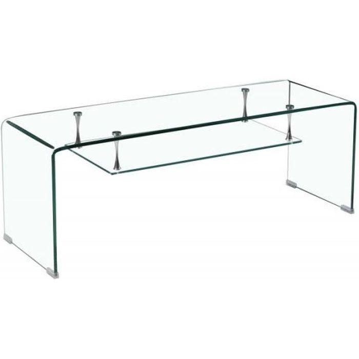 Lingjiushopping Meuble//rehausseur TV en verre blanc 120/x/30/x/13/cm
