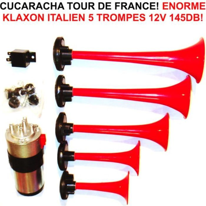 le plus gros cucaracha du monde klaxon italien 5 trompes 12v 145db tour de france raid. Black Bedroom Furniture Sets. Home Design Ideas
