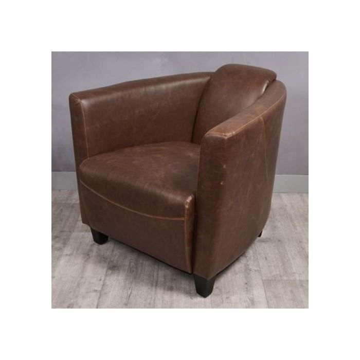 fauteuil aviateur blerio marron fonce achat vente fauteuil cdiscount. Black Bedroom Furniture Sets. Home Design Ideas