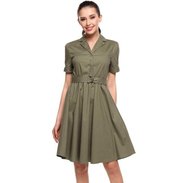 Robe femmes plissé a-line Casual Turn-down col manches courtes solide ourlet