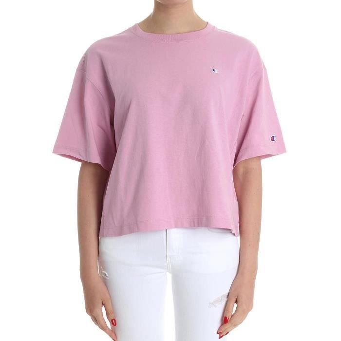 Champion Femme 110663ps059mau Rose Coton T Shirt Rose Rose Achat
